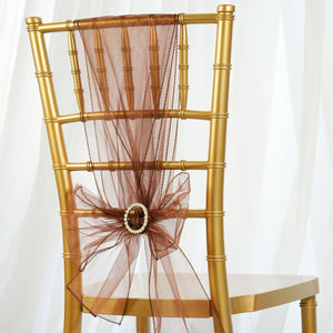 5pc x Chair Sash Organza - Chocolate