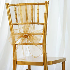 5pc x Chair Sash Organza - Gold