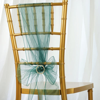 5 PCS | Hunter Emerald Green Sheer Organza Chair Sashes