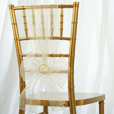 5pc x Chair Sash Organza - Ivory