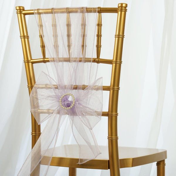 5 PCS | Lavender Sheer Organza Chair Sashes
