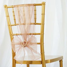 5pc x Chair Sash Organza - Blush