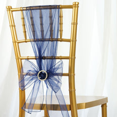 5pc x Chair Sash Organza - Navy Blue