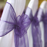 5 PCS | Purple Sheer Organza Chair Sashes
