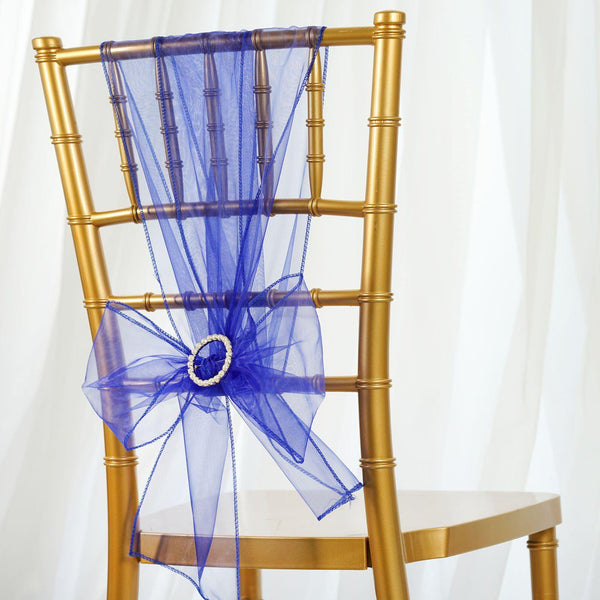 5 PCS | Royal Blue Sheer Organza Chair Sashes