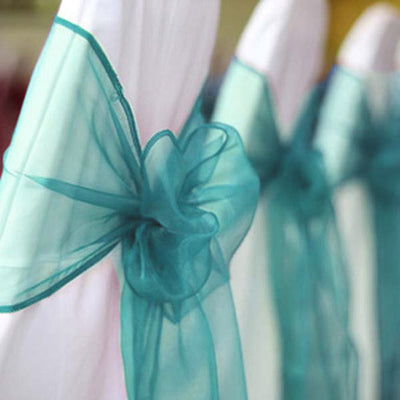 5 PCS | Turquoise Organza Chair Sashes