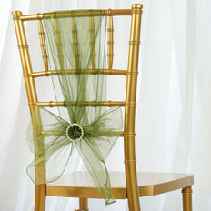 5pc x Chair Sash Organza - Willow Green