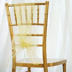 5pc x Chair Sash Organza - Baby Maize Yellow