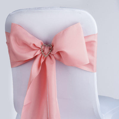 5 PCS ROSE QUARTZ Polyester Chair Sashes Tie Bows Catering Wedding Party Decorations - 6x108""