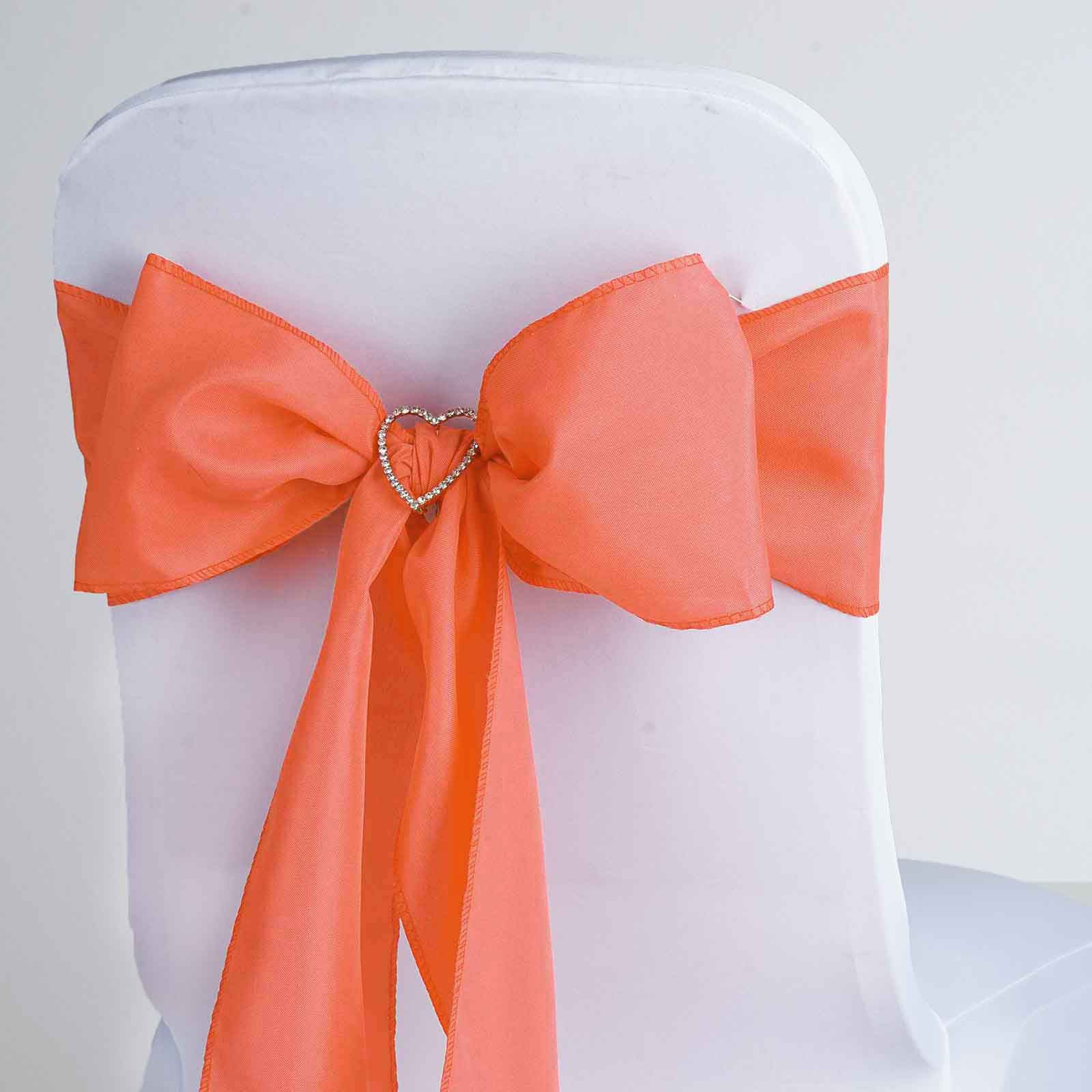 5 PCS CORAL Polyester Chair Sashes Tie Bows Catering Wedding Party ...