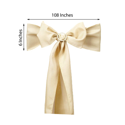 "5 PCS | 6"" x 108"" Beige Polyester Chair Sash"