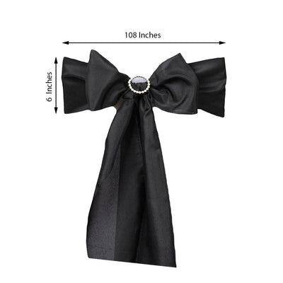 5 Pack | Black Polyester Chair Bow Sash