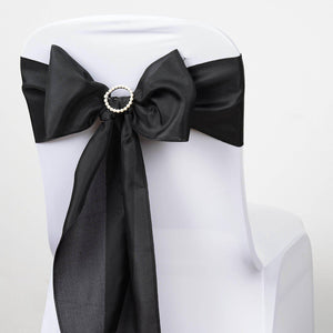 5 PCS BLACK Polyester Chair Sashes Tie Bows Catering Wedding Party Decorations - 6x108""