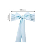"5 PCS | 6"" x 108"" Light Blue Polyester Chair Sash"