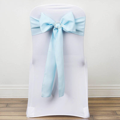 5 PCS LIGHT BLUE Polyester Chair Sashes Tie Bows Catering Wedding Party Decorations - 6x108""