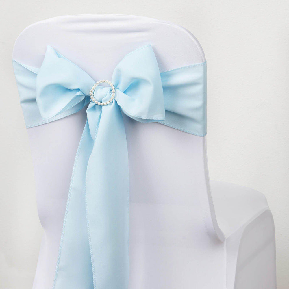 5 PCS LIGHT BLUE Polyester Chair Sashes Tie Bows Catering Wedding ...