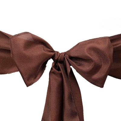 5 PCS CHOCOLATE Polyester Chair Sashes Tie Bows Catering Wedding Party Decorations - 6x108""