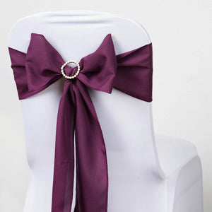 5 PCS EGGPLANT Polyester Chair Sashes Tie Bows Catering Wedding Party Decorations - 6x108""