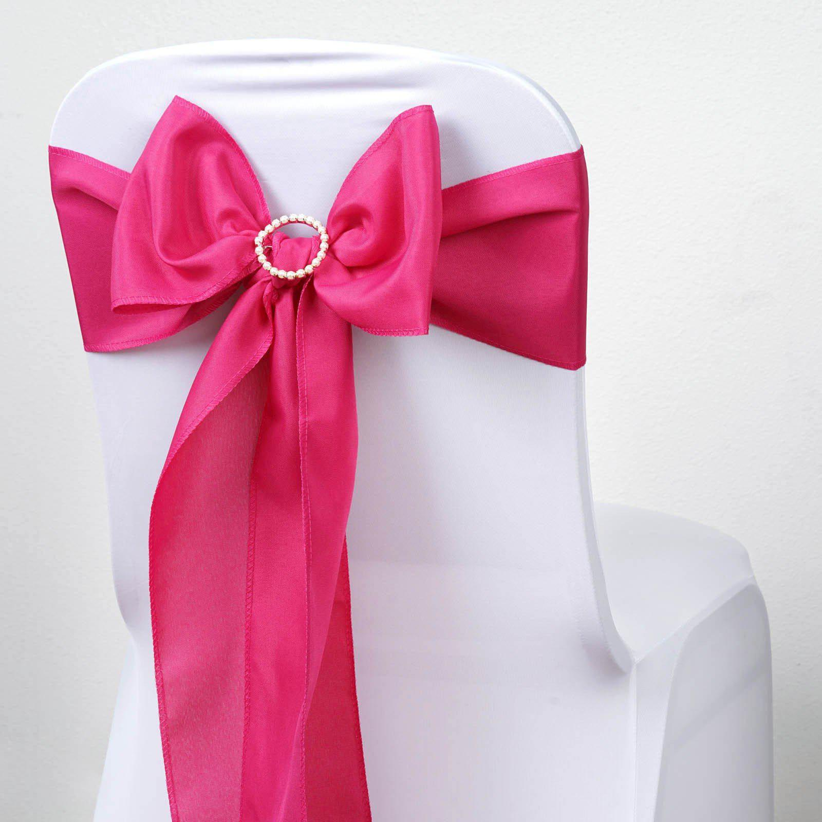 5 PCS FUSHIA Polyester Chair Sashes Tie Bows Catering Wedding Party ...