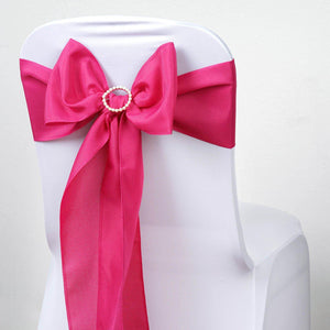 5 PCS FUSHIA Polyester Chair Sashes Tie Bows Catering Wedding Party Decorations - 6x108""