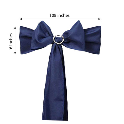 "5 PCS | 6"" x 108"" Navy Blue Polyester Chair Sash"