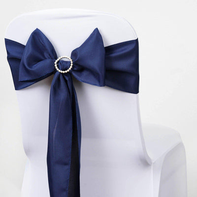 5 PCS NAVY BLUE Polyester Chair Sashes Tie Bows Catering Wedding Party Decorations - 6x108""