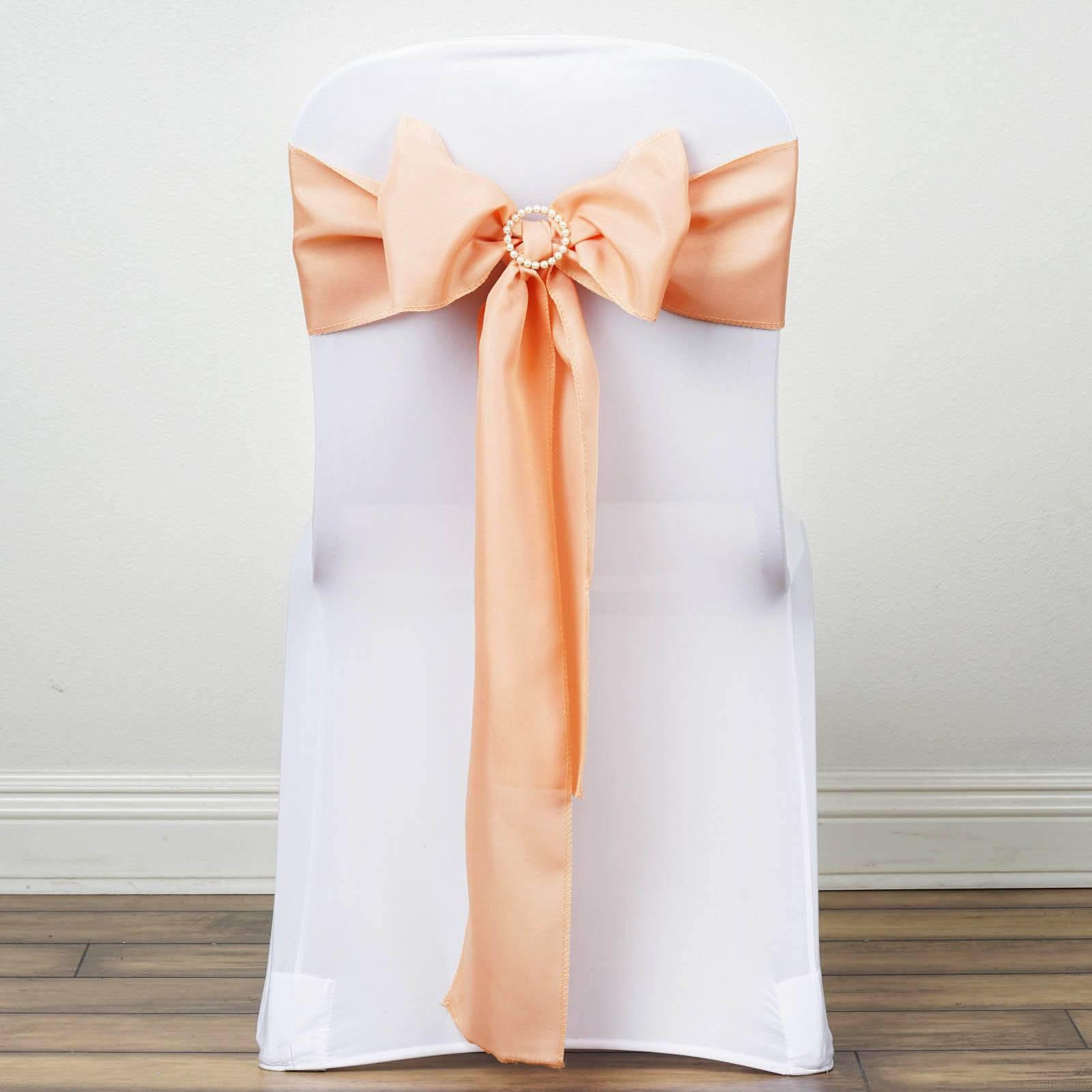 5 PCS PEACH Polyester Chair Sashes Tie Bows Catering