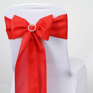 5 PCS RED Polyester Chair Sashes Tie Bows Catering Wedding Party Decorations - 6x108""