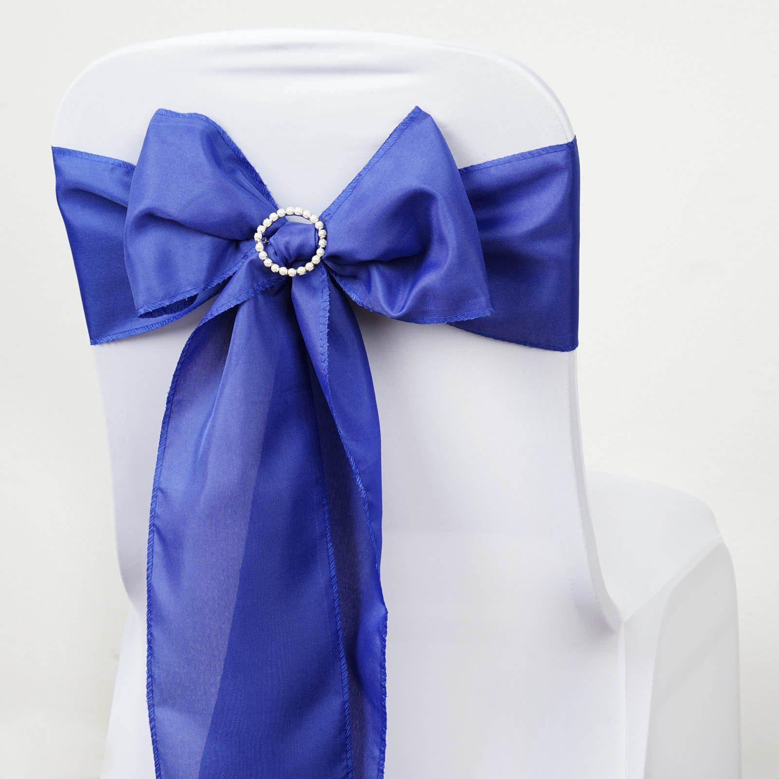 5 PCS ROYAL BLUE Polyester Chair Sashes Tie Bows Catering Wedding Party Decorations - 6x108  & 5 PCS ROYAL BLUE Polyester Chair Sashes Tie Bows Catering Wedding ...