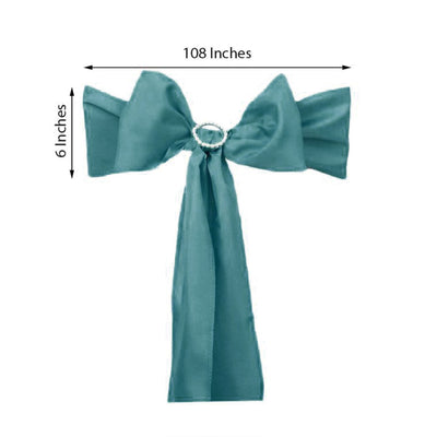 5PCS | Turquoise Polyester Chair Sash