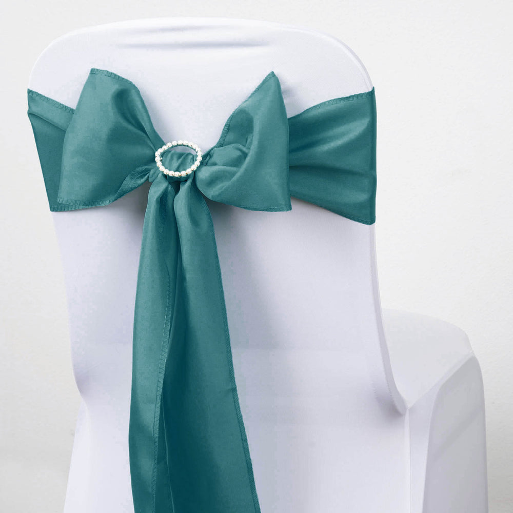 5 PCS TURQUOISE Polyester Chair Sashes Tie Bows Catering Wedding ...