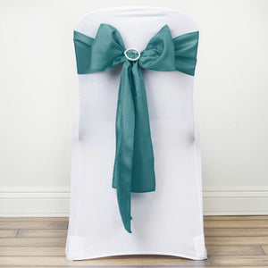 5 PCS TURQUOISE Polyester Chair Sashes Tie Bows Catering Wedding Party Decorations - 6x108""
