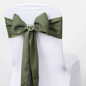 5 PCS WILLOW GREEN Polyester Chair Sashes Tie Bows Catering Wedding Party Decorations - 6x108""