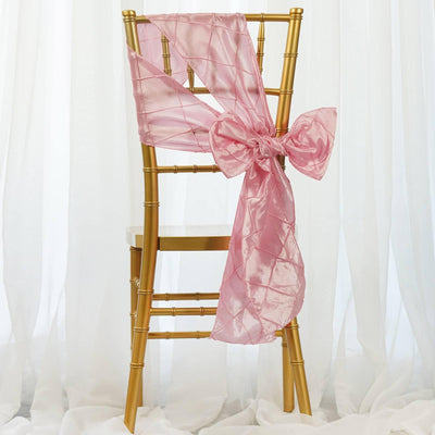 5 PCS | 7 Inch x 106 Inch | Rose Quartz Pintuck Chair Sash | TableclothsFactory