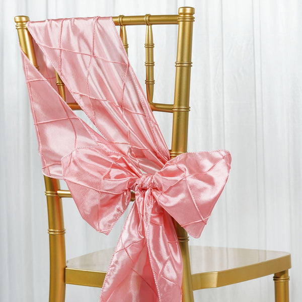 "5 PCS | 7""x106"" Rose Quartz Pintuck Chair Sash - Clearance SALE"