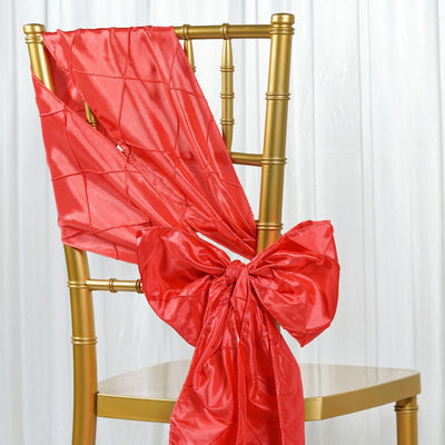 5 PCS | 7 Inch x 106 Inch | Coral Pintuck Chair Sash  | TableclothsFactory