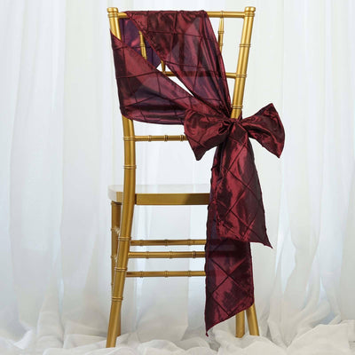 5pc x Chair Sash Pintuck - Burgundy