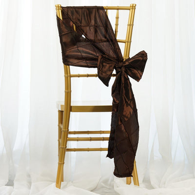 5 PCS | 7 Inch x 106 Inch | Chocolate Pintuck Chair Sash | TableclothsFactory