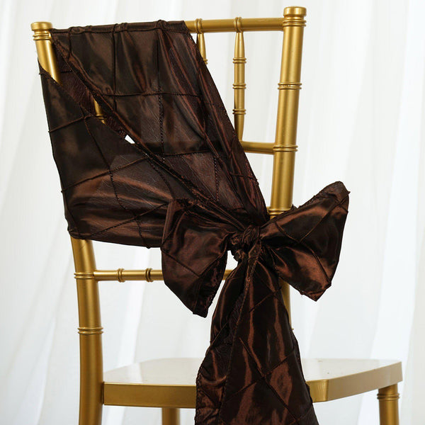 "5 PCS | 7""x106"" Chocolate Pintuck Chair Sash"