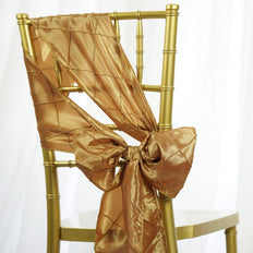 5 PCS | 7 Inch x 106 Inch |  Gold Pintuck Chair Sash | TableclothsFactory