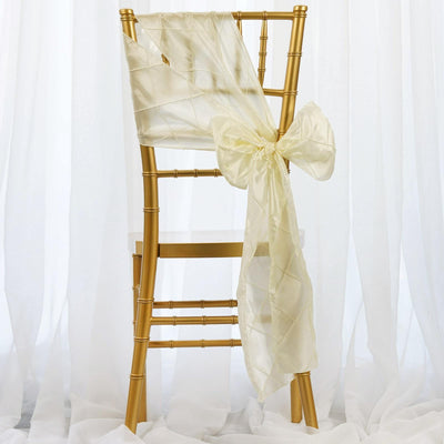 5 PCS | 7 Inch x 106 Inch | Ivory Pintuck Chair Sash | TableclothsFactory