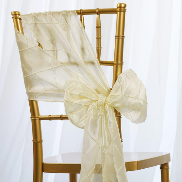 "5 PCS | 7""x106"" Ivory Pintuck Chair Sash"