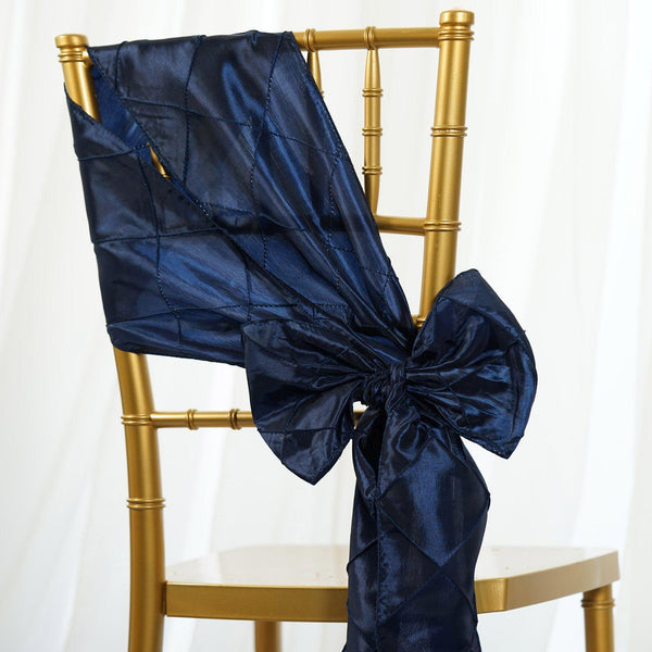 "5 Pack | 7""x106"" Navy Blue Pintuck Chair Sash"