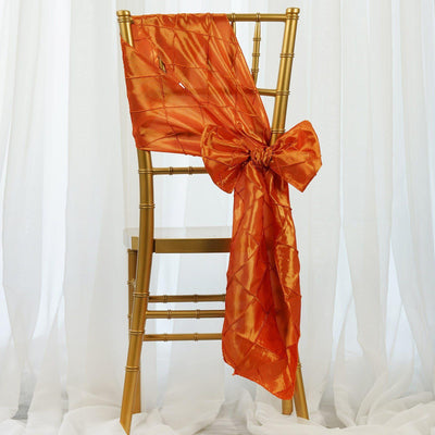 5 PCS | 7 Inch x 106 Inch | Orange Pintuck Chair Sashes | TableclothsFactory