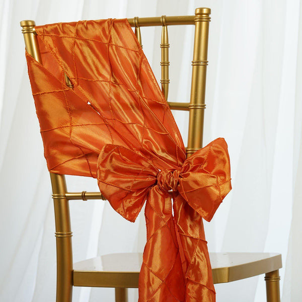 "5 PCS | 7""x106"" Orange Pintuck Chair Sash"