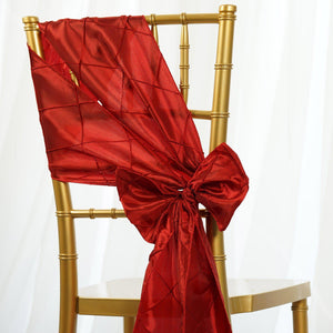 5 PCS | 7 Inch x 106 Inch | Red Pintuck Chair Sash | TableclothsFactory