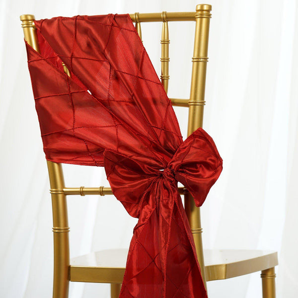 "5 PCS | 7""x106"" Red Pintuck Chair Sash"