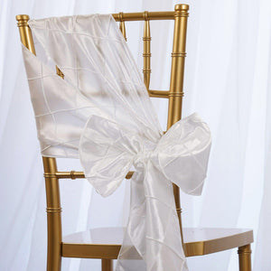 5 PCS | 7 Inch x 106 Inch | White Pintuck Chair Sash | TableclothsFactory