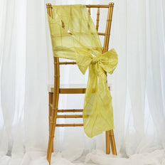 5 PCS | 7 Inch x 106 Inch | Yellow Pintuck Chair Sash | TableclothsFactory