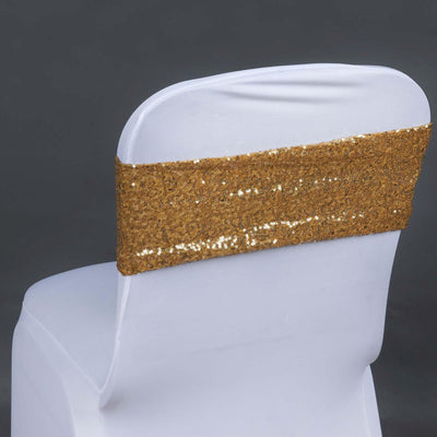 5pc x Spandex Sequined Chair Sash - Gold